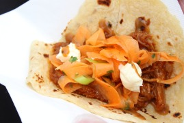 2013, Bbq pulled pork on handmade tortilla with carrot slaw and sour cream. Photo by Fifi Leong