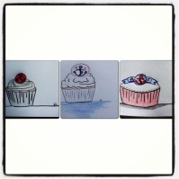 Desgin stages for engagment party cupcakes