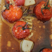 Balsamic roasted cherry tomatoes infused with rosemary and garlic.