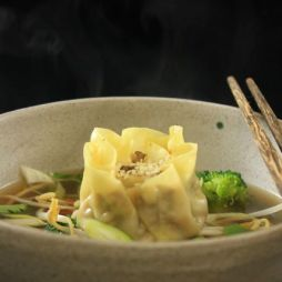 Venison and shiitake dim sum in aromatic broth with steamed vegetables. Photo by Robyn Joynt