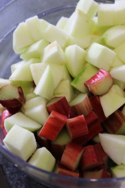 Cut rhubarb and apple to the same size chunks.
