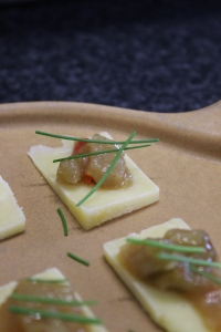 Aged Cheddar Cheese with Heirloom Green Tomato and Ginger Chutney Bites