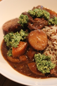 Kumara and Beef Slow Cooker served mine with a side of brown rice and red quinoa and walnut parsley pesto.