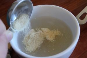 Dissolve gelatin in hot water.