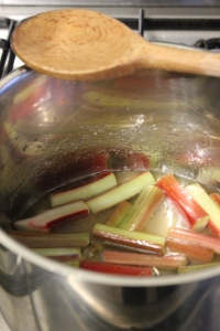 Poach rhubarb until tender, do not stir.