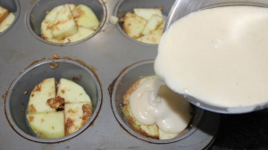 Fill muffin tins 3/4 way full, add remaining mixture to cake tin.