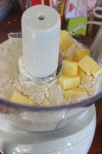 Add flour, salt, butter and water to food processor.