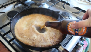 deglaze hot fry pan with beer.