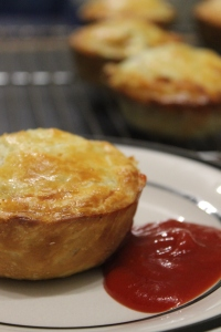 Steak, ale and cheese pie with tomato sauce a kiwi classic.