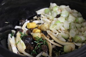 Add carrots, fennel, rosemary, sultanas and browned onions and garlic to the slow cooker.