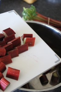 Wash and dice rhubarb into 3cm chunks.