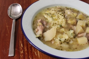 Leek, Pork Bone and Potato soup with GF Dough Boy's.