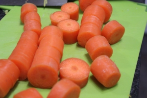Slice chunky rings of carrot.