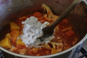 Add stock, fish sauce and coconut cream. Simmer for 30 minutes.