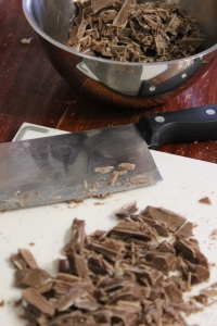 Chop chocolate, add to metal bowl.