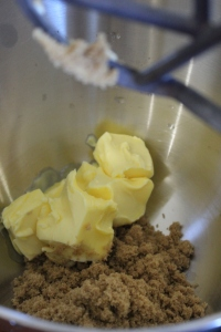Add brown sugar and soften butter to stand mixer bowl with paddle attachment.