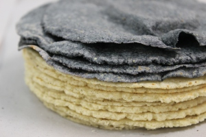 White and blue corn tortillas is made during the workshop.