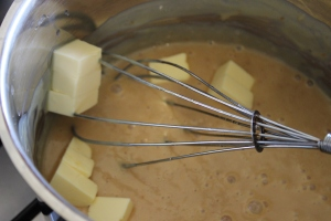 Whisk in butter and cook for a further 2 minutes.
