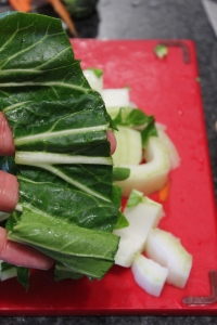 Slice the leaves into large slices, cooks extremely fast.