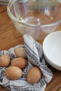 Separate 5 room temp eggs. Cover yolks with clingfilm and refrigerate.