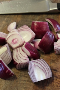 Cut onion into large wedges.
