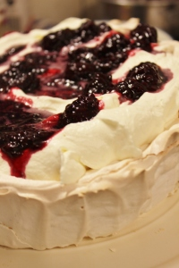 Top with whipped cream and boysenberry compote.
